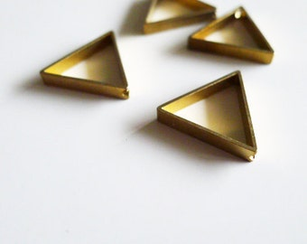 50 pieces of vintage old stock cut raw brass tube outline charm in small triangle geometric shape deco 15mm with hole