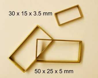 4 pieces of vintage thick slice raw brass tube outline charm in rectangular 50x25x5mm