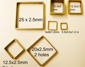 20 pieces of newly made cut raw brass tube outline charm in tiny square box geometric shape 3d cube 8 x 8x1.2mm