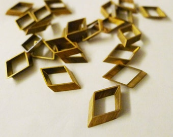 20 pieces of vintage cut raw brass tube outline charm in rhombus geometric shape 11x2.3x18mm