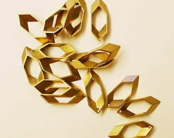 10 pieces of newly made cut raw brass tube outline charm in small long hexagon with one hole 25x9.5mm
