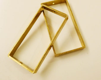 4 pieces of vintage thick slice raw brass tube outline charm in rectangular 50x25x5mm with 2 holes