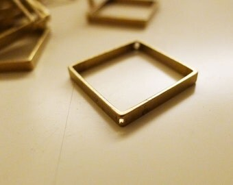 10 pieces of vintage raw brass charm square 20x20x2.5 mm with 2 holes