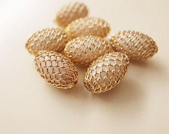 10 Vintage old stock brass mesh wrapping white plastic beads rare unusual 12mm with plating on mesh in gold tone