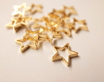 15 pieces of newly cut raw brass tube outline charm in tiny star shape with new plating in gold  tone 8mm