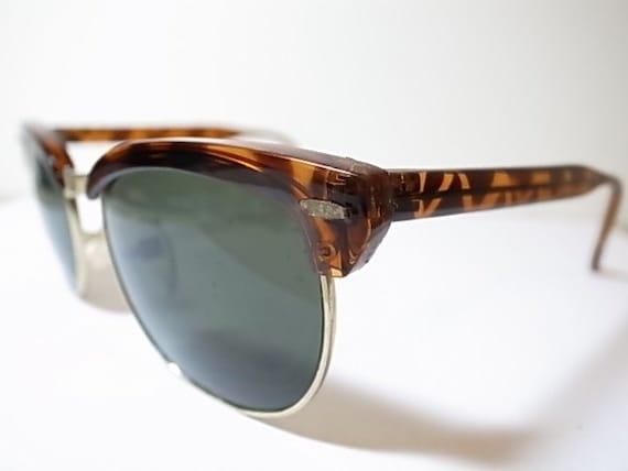 Half Frame Tortoise Shell Glasses : Vintage tortoise shell pattern half frame square wayfarer