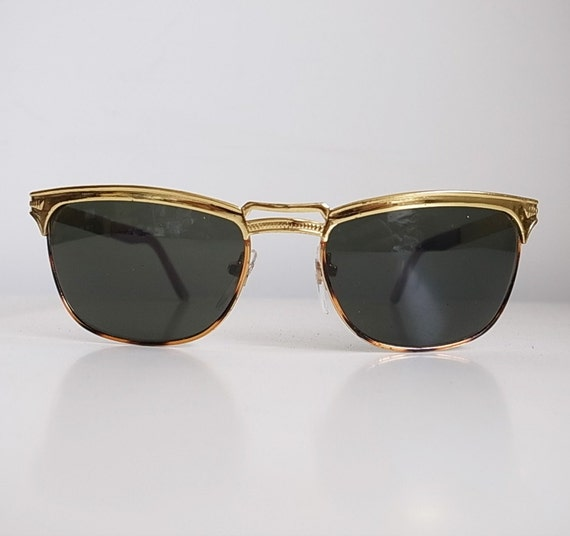 Vintage old stock sample flat top sunglasses in gold tone with leopard pattern enamel