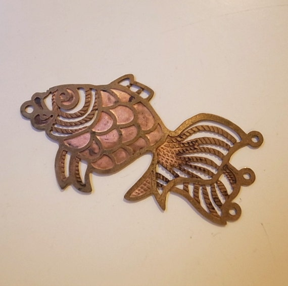 15 Vintage Die Cut Brass Big Gold Fish Charms Nice Detail And