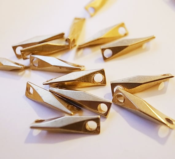20 g about 30 pieces of vintage raw brass connector box bar link beads findings gold tone make your own chain 15mm