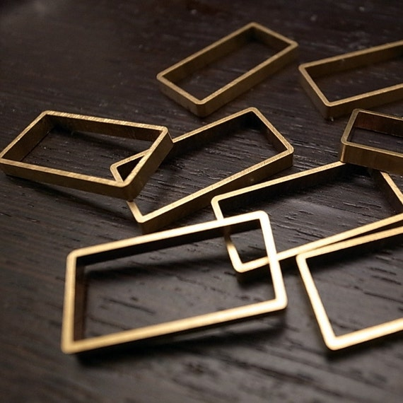 8 pieces of vintage old stock cut raw brass tube outline charm in rectangular geometric shape
