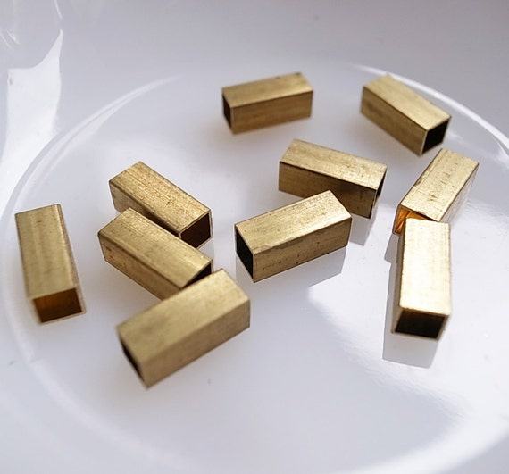 12 pieces of vintage cut raw brass tube square shape bead cap 12 mm long cube