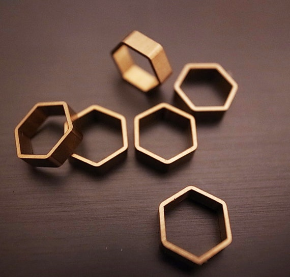 back in stock 15 pieces of small cut raw brass tube outline charm in hexagon shape geometric 7.5x8.5x2.5mm wide