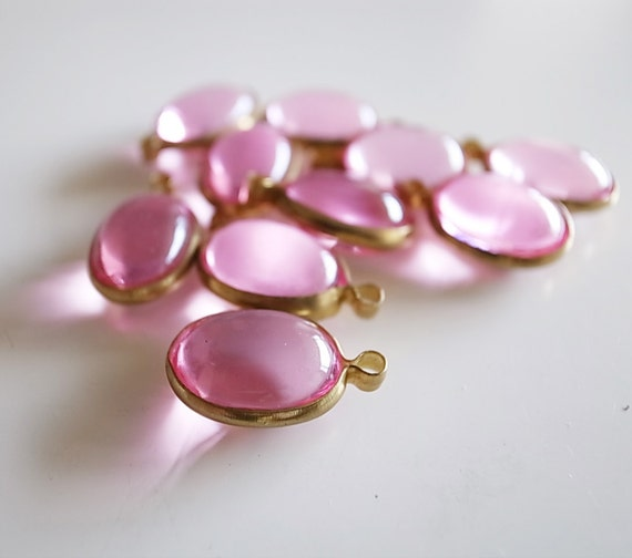 12 Vintage pink drop lucite beads  with brass frame caged setting charm 11 x 19mm