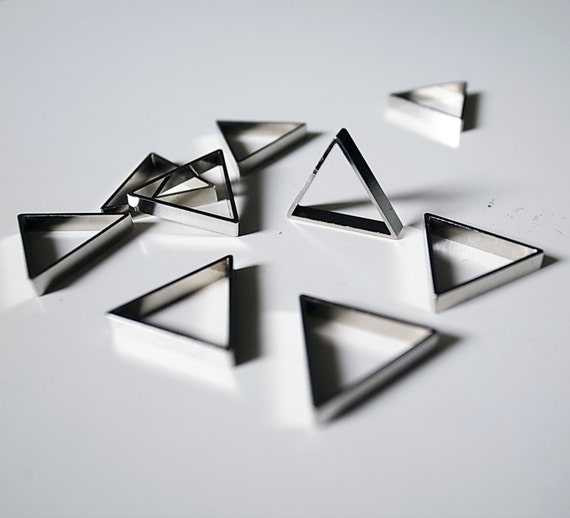 10 pieces of newly made cut raw brass thick tube outline charm in  triangle 16x2.5mm with new plating in steel silver tone