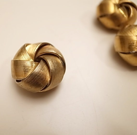 3 Vintage thick brass beads medium size knot fold design with texture 18mm across x10mm high