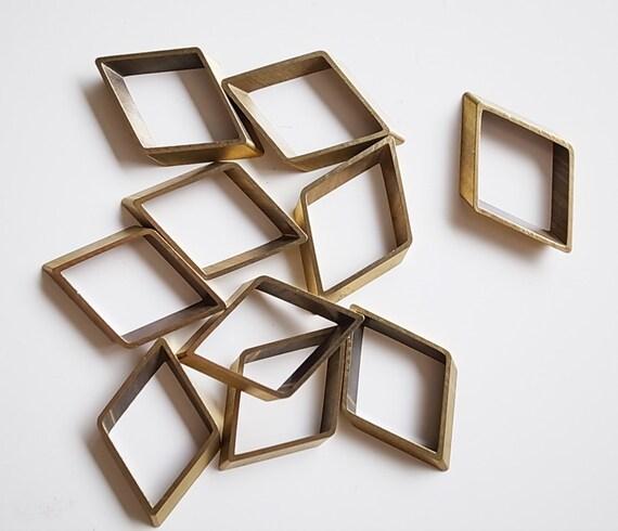 12 pieces of newly made cut raw brass tube outline charm in rhombus diamond geometric shape 17X2.5X27mm
