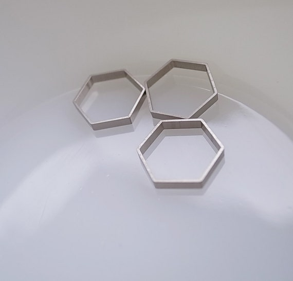 12 cut raw brass tube outline charm in hexagon shape geometric art deco 17.5x2.5mm new plating in steel color