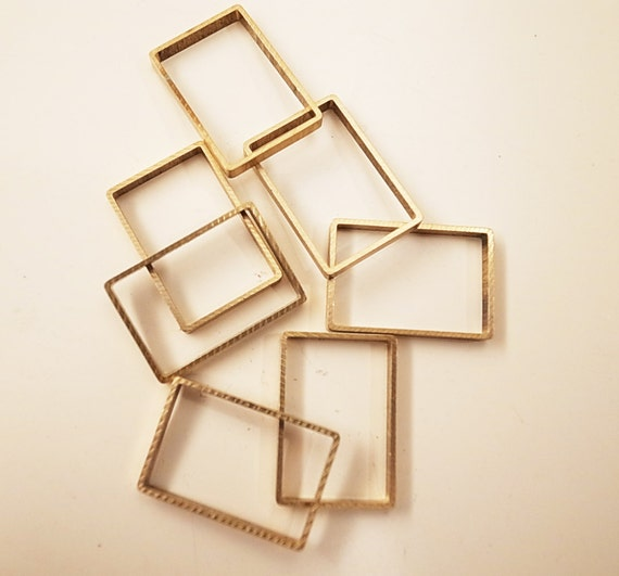 10 pieces of new cut  thick slice raw brass tube outline charm in rectangular geometric shape 13x19x2mm