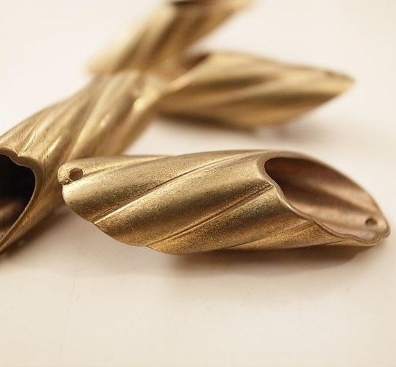 10 pieces of vintage cut raw brass straight round tube with hole diagonal cut 33x10mm swirl very unusal