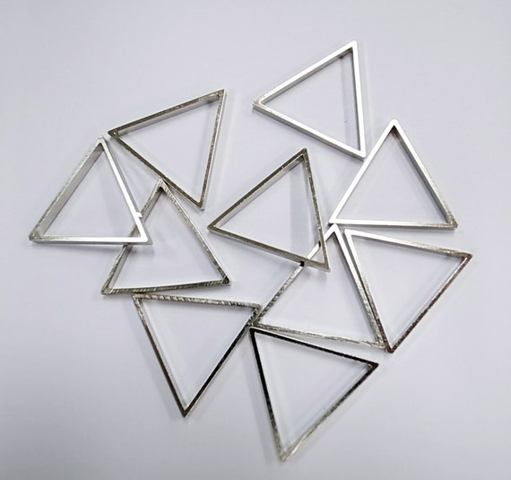 10 pieces of cut raw brass tube outline charm in triangle geometric shape deco 25mm each side with new plating in steel color