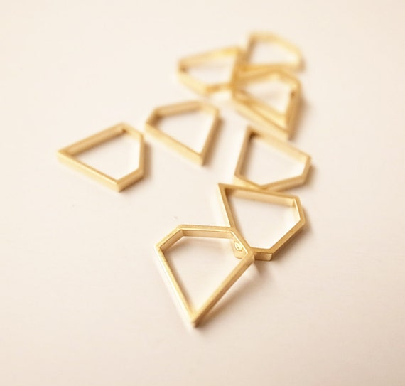 15 pieces of  cut raw brass thick tube outline charm in tiny diamond 9x9mm with new plating in Gold color