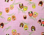 Japanese Fabric owl  Print  pink