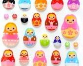 Super kawaii colorful  Matryoshka Japanese stickers