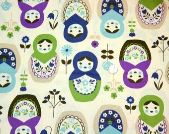 Big Matryoshka print Japanese fabric  ( cool colors ) ONE METER ( 39 by 41 inch )