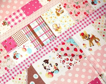 Kawaii Patchwork Style Animals and Fruits Print half meter nc13