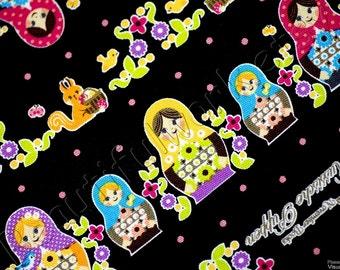 Beautiful Matryoshka Print Japanese Fabric by Kokka Black N132