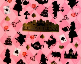 Alice in wonderland story theme Japanese sticker ( she lost her way )