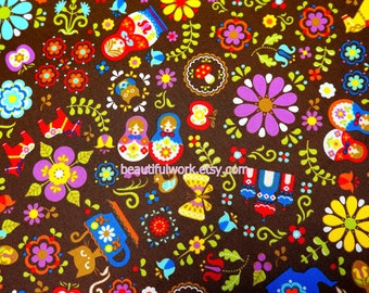 Matryoshka Russian dolls fabric