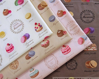 Yuwa Fabric   Macaron and sweets 4 different colors Fat quarter each