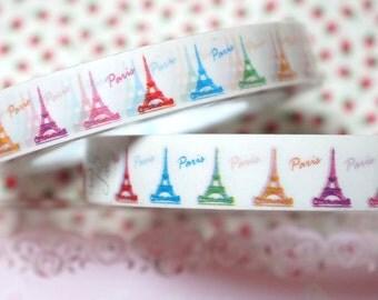 Deco Tape Paris theme Colorful eiffel tower  1 piece