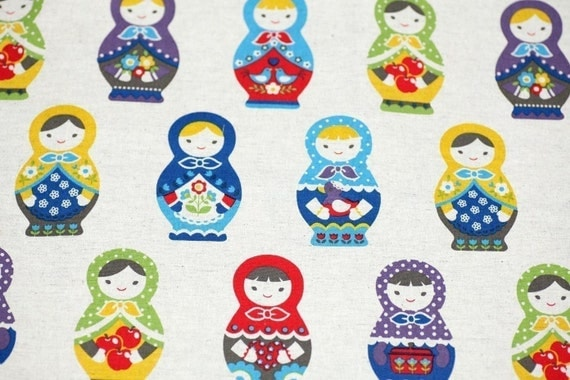 Russian nesting dolls Matryoshka fabric Japanese cotton linen