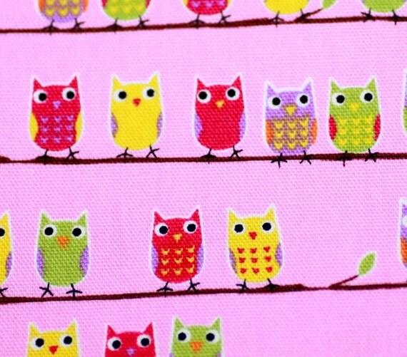 owl print Japanese Fabric pink background
