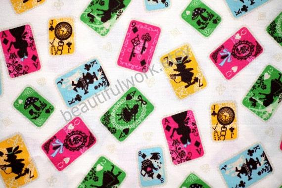Sale Alice in wonderland  Fabric Cards Style White  Background 2 yard