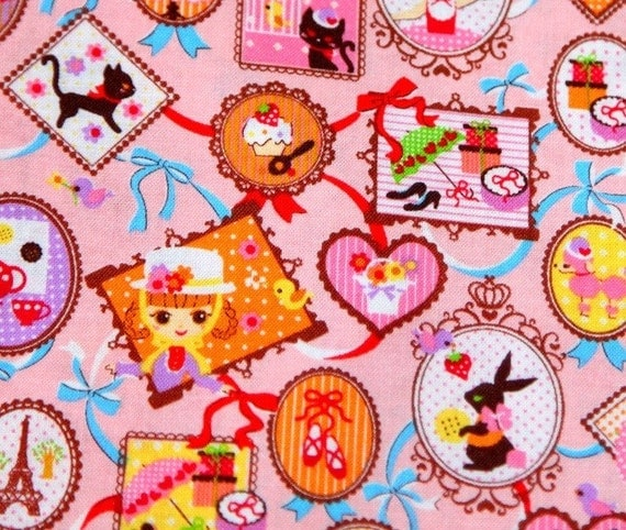 doll and ribbon print pink  background A2