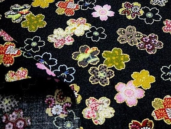 Reserved 2 yards Beautiful Kimono style Print Japanese Fabric colorful flowers
