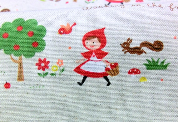 Little Red Riding Hood Print Japanese Fabric cotton linen A6
