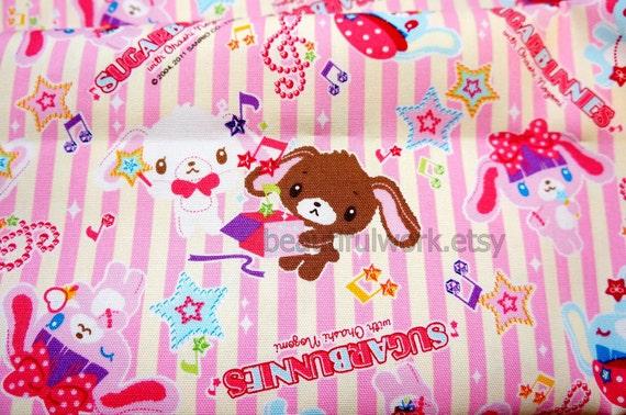 Sanrio Print Japanese Fabric Sugar Bunnies Half meter