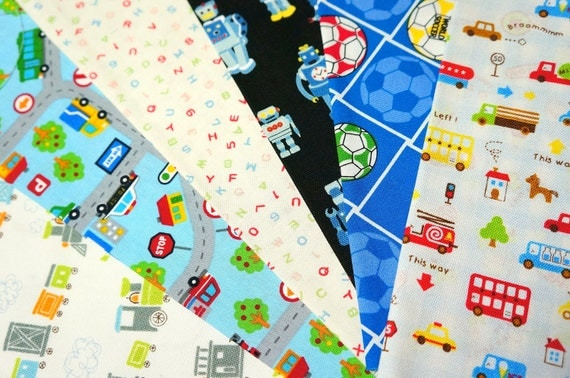 Boy theme fabric scrap cars soccer ball train by beautifulwork for Train themed fabric
