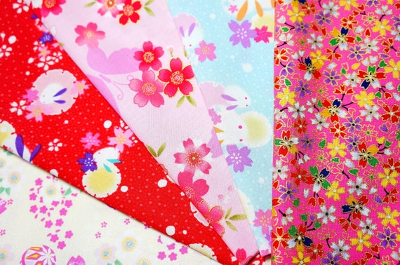 Reserved for Val Japanese Fabric Kimono Fabric Scrap set of 5 pcs KN21