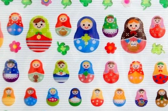 Deco sticker matryoshka russian dolls and clovers