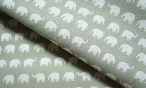 Elephant fabric  Tiny Elephant 50 cm by 53 cm or 19.6 by 21 inches FAT QUARTER