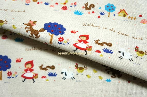 Little Red Riding Hood Print Japanese Fabric cotton linen