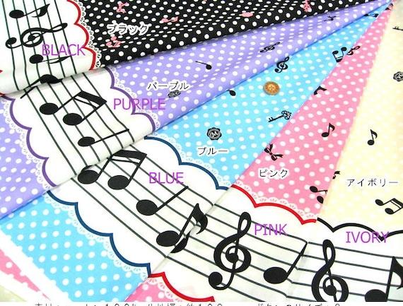 Kawaii Lolita Fabric melody print IVORY background color