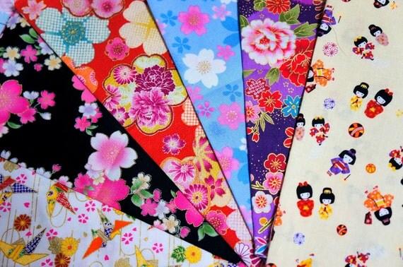 Kimono fabric scrap set of 6 pieces MA17