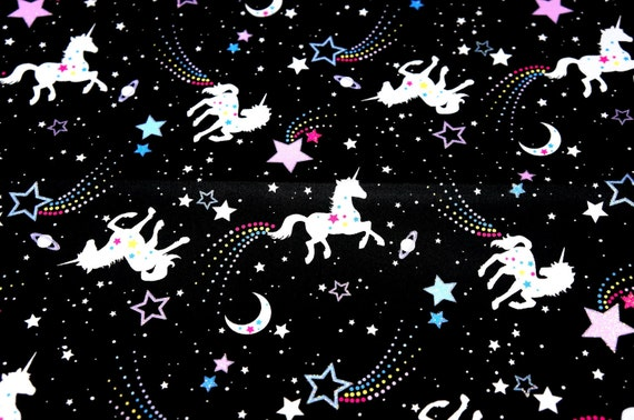 unicorn fabric Unicorn and stars 77 cm by 53 cm or 30 by 21 inches (HAKO13A)