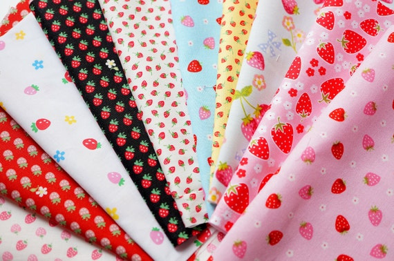 Strawberry Fabric Scrap set of 10 pieces